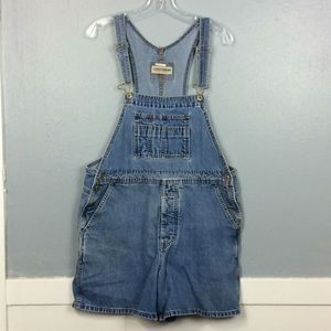 London Jean Ladies Denim Distressed Shortalls Sz L